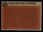 1962 Topps #137 A  -  Babe Ruth / Miller Huggins Babe and Mgr. Huggins Back Thumbnail
