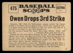 1961 Nu-Card Scoops #475   Mickey Owen   Back Thumbnail