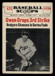 1961 Nu-Card Scoops #475   -   Mickey Owen  Owen Drops Third Strike Front Thumbnail