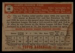 1952 Topps #48 COR Joe Page  Back Thumbnail