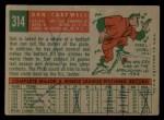 1959 Topps #314  Don Cardwell  Back Thumbnail