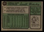 1974 Topps #57  Darold Knowles  Back Thumbnail