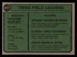 1974 Topps #447   -  Frank Quilici / Vern Morgan / Bob Rodgers / Ralph Rowe Twins Leaders   Back Thumbnail