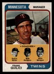 1974 Topps #447   -  Frank Quilici / Vern Morgan / Bob Rodgers / Ralph Rowe Twins Leaders   Front Thumbnail