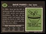 1969 Topps #127  Dave Parks  Back Thumbnail