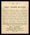 1933 National Chicle Sky Birds #24   Lieut. Frank Bylies Back Thumbnail