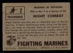 1953 Topps Fighting Marines #7   Night Combat Back Thumbnail