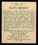 1933 National Chicle Sky Birds #29 A Floyd Bennett   Back Thumbnail