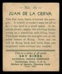 1933 National Chicle Sky Birds #43 A Juan De La Cierva   Back Thumbnail