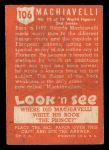 1952 Topps Look 'N See #106  Machiavelli  Back Thumbnail