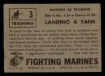 1953 Topps Fighting Marines #3   Landing Tank Back Thumbnail