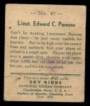 1933 National Chicle Sky Birds #47 A Lt. Edward Parsons   Back Thumbnail