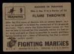 1953 Topps Fighting Marines #9   Flame Thrower Back Thumbnail