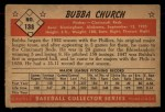 1953 Bowman #138  Bubba Church  Back Thumbnail