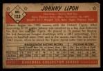 1953 Bowman #123  John Lipon  Back Thumbnail