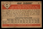 1953 Bowman #156  Max Surkont  Back Thumbnail