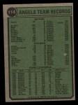 1974 Topps #114   Angels Team Back Thumbnail