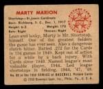 1950 Bowman #88  Marty Marion  Back Thumbnail