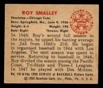 1950 Bowman #115  Roy Smalley  Back Thumbnail