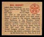1950 Bowman #117  Bill Rigney  Back Thumbnail