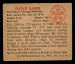 1950 Bowman #146  Floyd Baker  Back Thumbnail