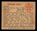 1950 Bowman #150  George Vico  Back Thumbnail
