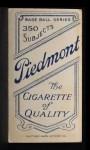 1909 T206 PRV Izzy Hoffman  Back Thumbnail