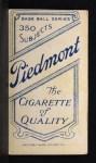 1909 T206  George Hunter  Back Thumbnail