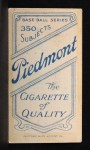 1909 T206  Claude Rossman  Back Thumbnail