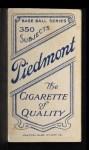 1909 T206 OUT Bob Rhoades  Back Thumbnail