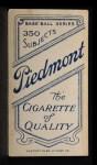 1909 T206 #74  Bunk Congalton  Back Thumbnail