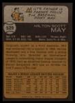 1973 Topps #529  Milt May  Back Thumbnail