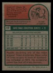 1975 Topps Mini #17  Dave Concepcion  Back Thumbnail