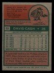 1975 Topps Mini #22  Dave Cash  Back Thumbnail