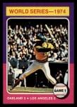 1975 Topps Mini #461   -  Reggie Jackson 1974 World Series - Game #1 Front Thumbnail