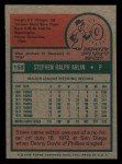 1975 Topps Mini #159  Steve Arlin  Back Thumbnail