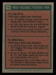 1975 Topps Mini #192   -  Yogi Berra / Willie Mays 1954 MVPs Back Thumbnail