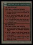 1975 Topps Mini #203   -  Zoilo Versalles / Willie Mays 1965 MVPs Back Thumbnail