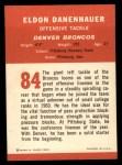 1963 Fleer #84  Eldon Danenhauer  Back Thumbnail
