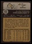 1973 Topps #153  Al Hrabosky  Back Thumbnail