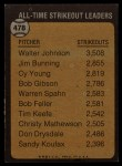 1973 Topps #478   -  Walter Johnson All-Time Strikeout Leader Back Thumbnail