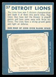 1961 Topps #37   Lions Team Back Thumbnail