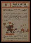 1962 Topps #84  Art Hunter  Back Thumbnail