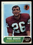 1968 Topps #166  Paul Krause  Front Thumbnail