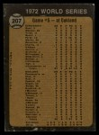 1973 Topps #207   -  Blue Moon Odom / Johnny Bench 1972 World Series - Game #5 - Odom Out at Plate Back Thumbnail