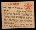 1950 Bowman #50  Dick Kokos  Back Thumbnail