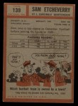 1962 Topps #139  Sam Etcheverry  Back Thumbnail
