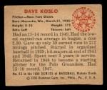 1950 Bowman #65  Dave Koslo  Back Thumbnail