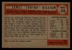1954 Bowman #74  Jim Gilliam  Back Thumbnail
