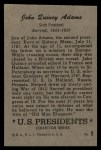 1952 Bowman U.S. Presidents #9  John Quincy Adams   Back Thumbnail